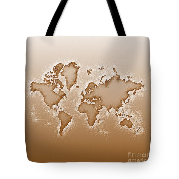 World Map Opala Square In Brown And White Tote Bag