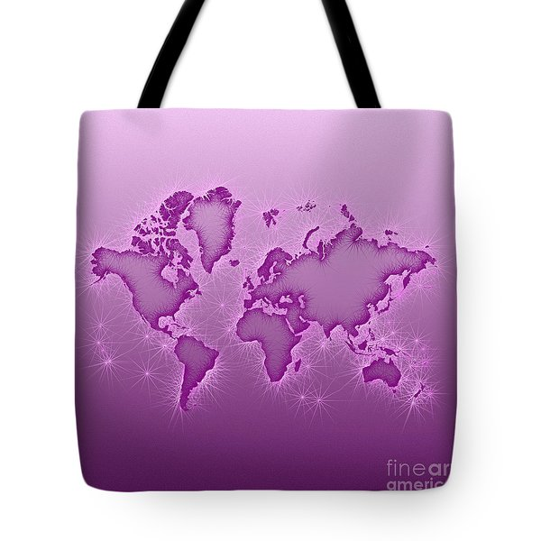 World Map Opala Square In Purple And Pink Tote Bag