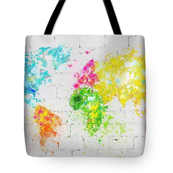 World Map Painting On Brick Wall Tote Bag