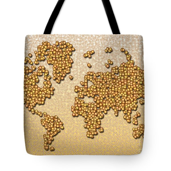 World Map Rolamento In Yellow And Brown Tote Bag by Eleven Corners