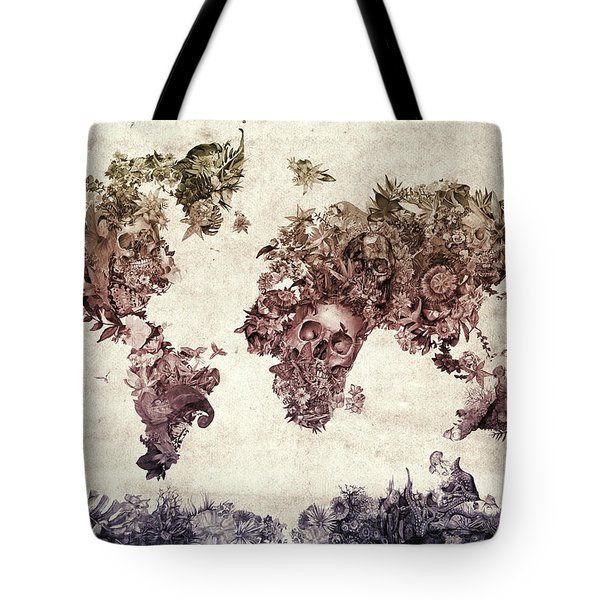 World Map Tropical Skull Leaves 3 Tote Bag