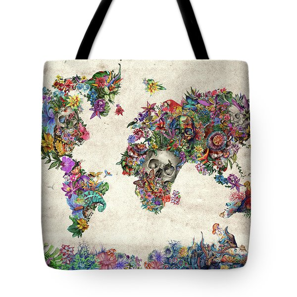 World Map Tropical Skull Leaves Tote Bag