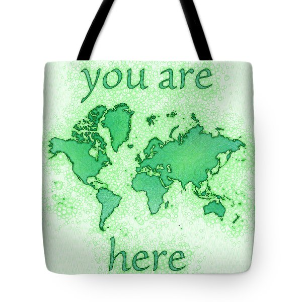 World Map You Are Here Airy In Green And White Tote Bag by Eleven Corners