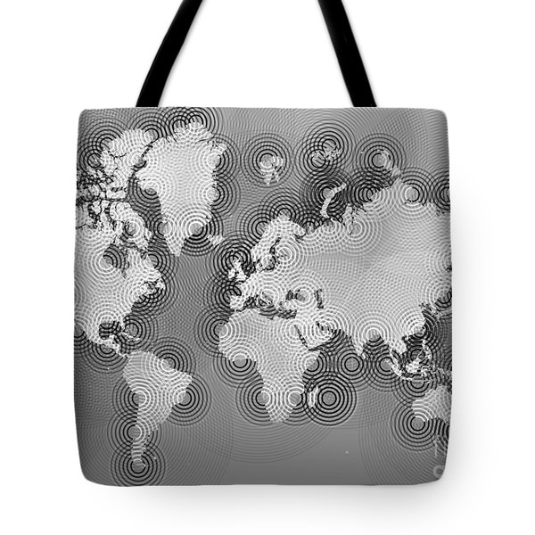 World Map Zona In Black And White Tote Bag