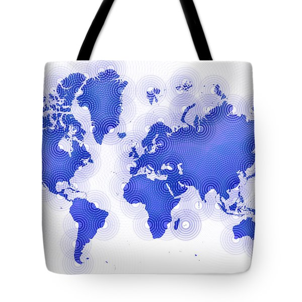 World Map Zona In Blue And White Tote Bag