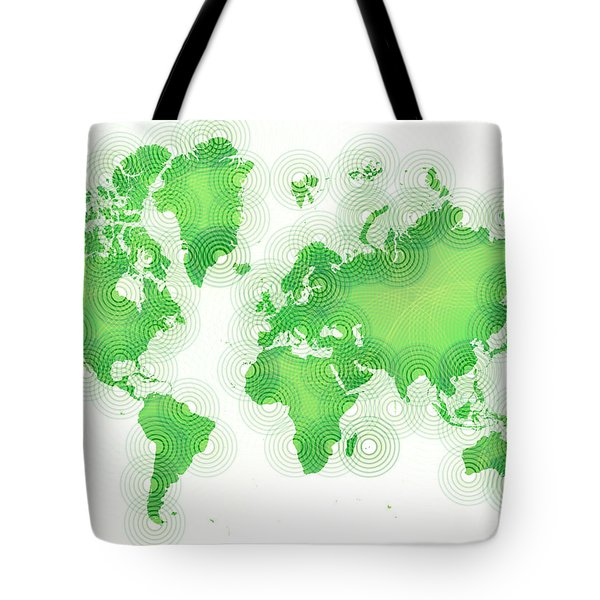World Map Zona In Green And White Tote Bag by Eleven Corners