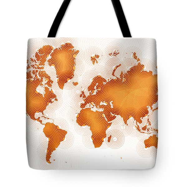 World Map Zona In Orange And White Tote Bag