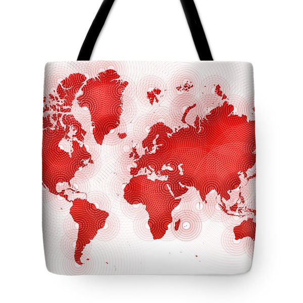 World Map Zona In Red And White Tote Bag by Eleven Corners
