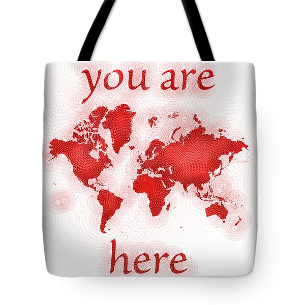 World Map Zona You Are Here In Red And White Tote Bag