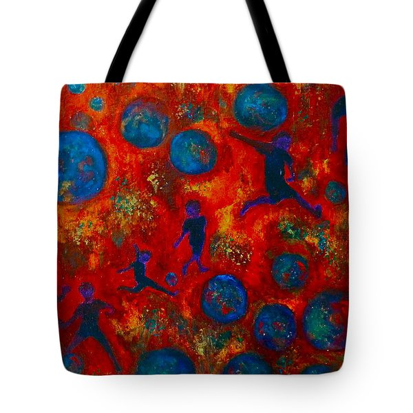 Tote Bag featuring the painting World Soccer Dreams 2 by Claire Bull