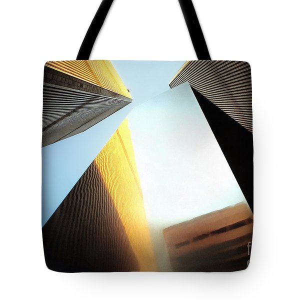 World Trade Center Towers And The Ideogram 1971-2001 Tote Bag by Nishanth Gopinathan