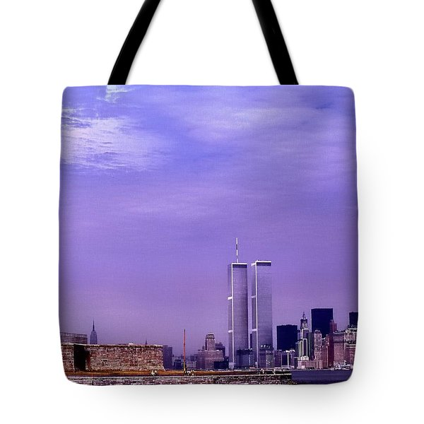 World Trade Center Twin Towers And The Statue Of Liberty  Tote Bag