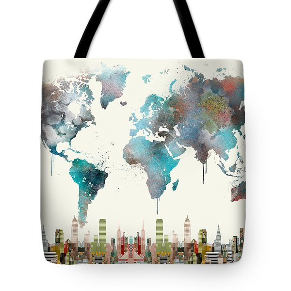 Tote Bag featuring the painting World Travel Map by Bri B