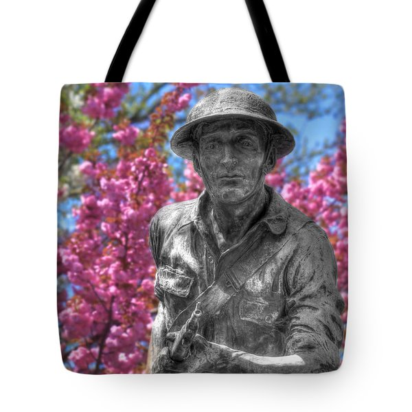 Tote Bag featuring the photograph World War I Buddy Monument Statue by Shelley Neff