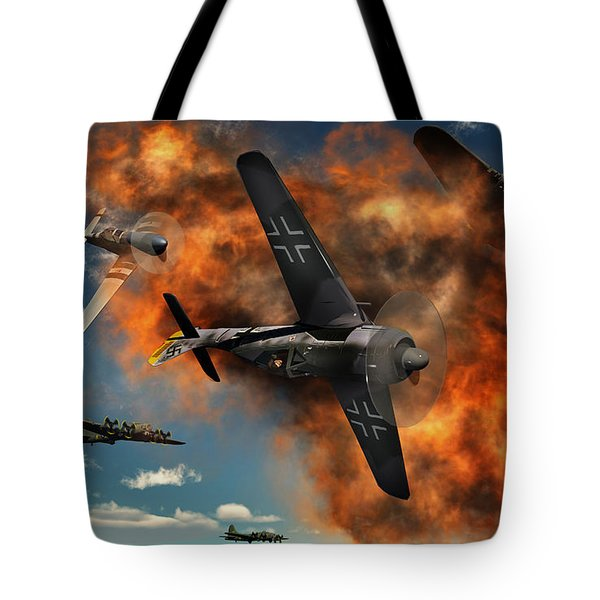 World War II Aerial Combat Tote Bag by Mark Stevenson