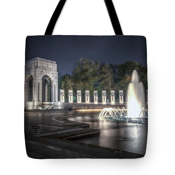 Tote Bag featuring the photograph World War II Memorial At Night by Ross Henton