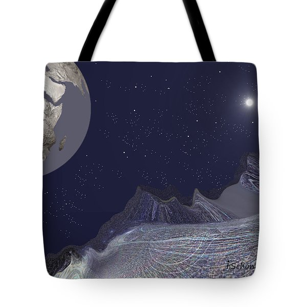 Tote Bag featuring the digital art 1657 - Worlds - 2017 by Irmgard Schoendorf Welch