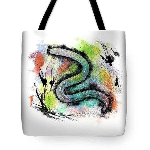 Worm Illustration Tote Bag