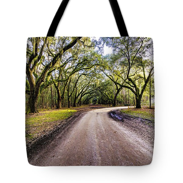 Tote Bag featuring the photograph Wormsloe Road by Anthony Baatz