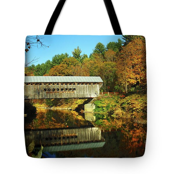 Worrall's Bridge Vermont - New England Fall Landscape Covered Bridge Tote Bag by Jon Holiday
