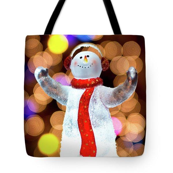 Worshiping Snowman Tote Bag