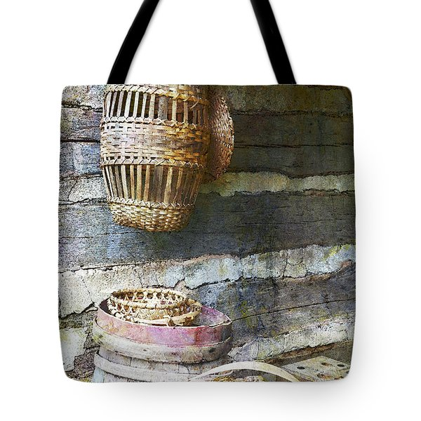 Woven Wood And Stone Tote Bag