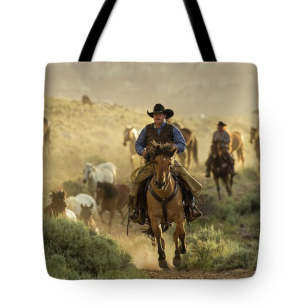 Wrangling The Horses At Sunrise  Tote Bag
