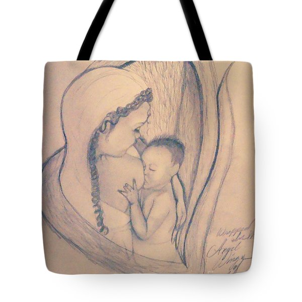 Wrapped Within The Angel Wings Of Momma Tote Bag