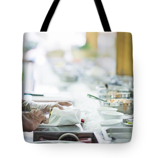 Wrapping Sandwich In Salad Bar Preparation Counter   Tote Bag