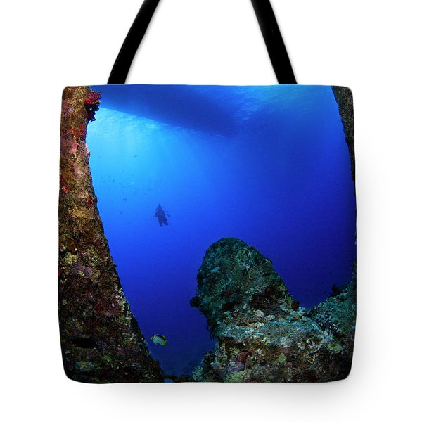 Tote Bag featuring the photograph Wreck Diving by Rico Besserdich