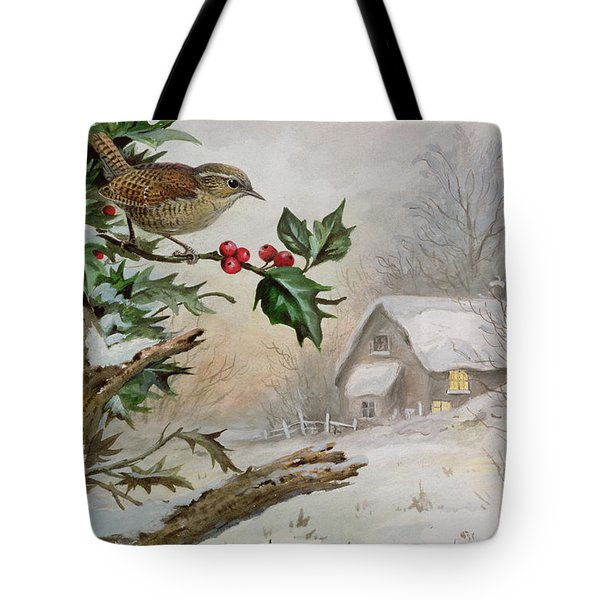 Wren In Hollybush By A Cottage Tote Bag by Carl Donner