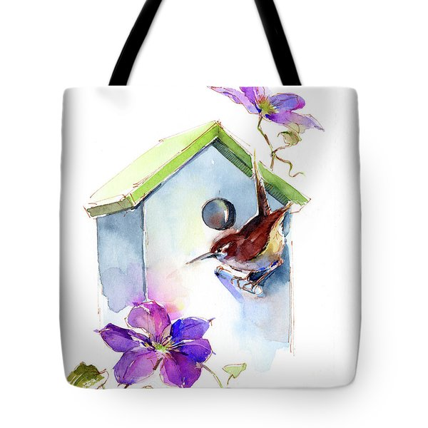 Wren With Birdhouse And Clematis Tote Bag