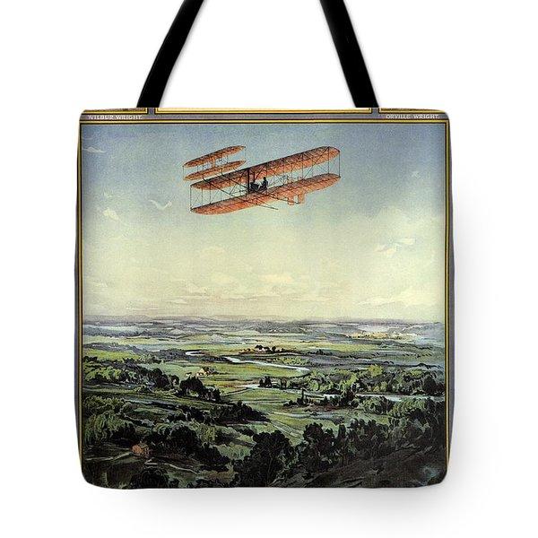 Wright Brothers - World's Greatest Aviators - Dayton, Ohio - Retro Travel Poster - Vintage Poster Tote Bag