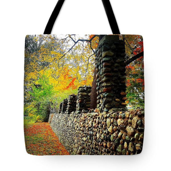 Wright Park Stone Wall In Fall Tote Bag