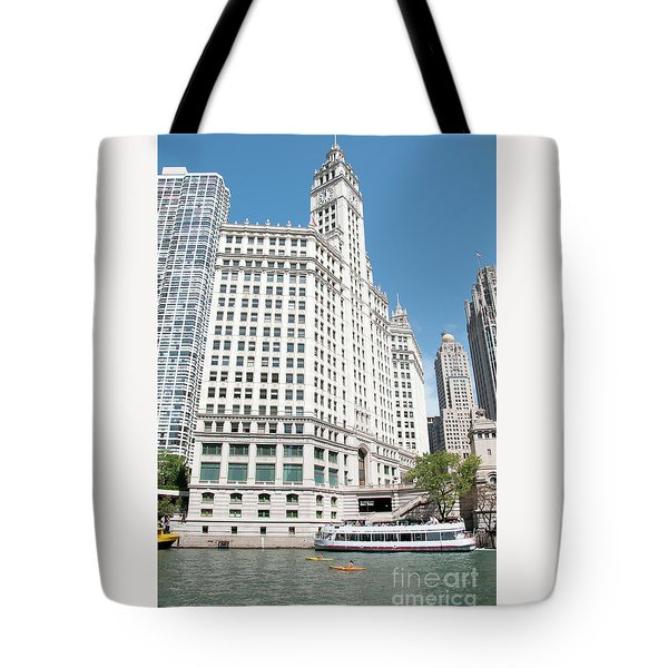 Wrigley Building Overlooking The Chicago River Tote Bag