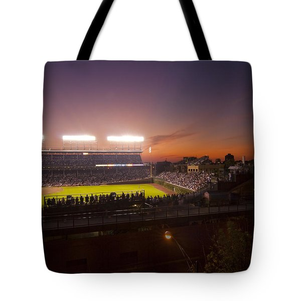 Wrigley Field At Dusk Tote Bag
