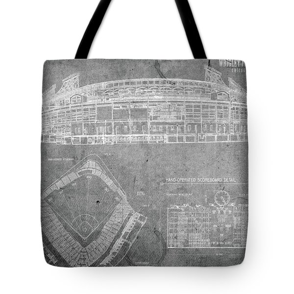 Wrigley Field Chicago Illinois Baseball Stadium Blueprints Gray Tote Bag
