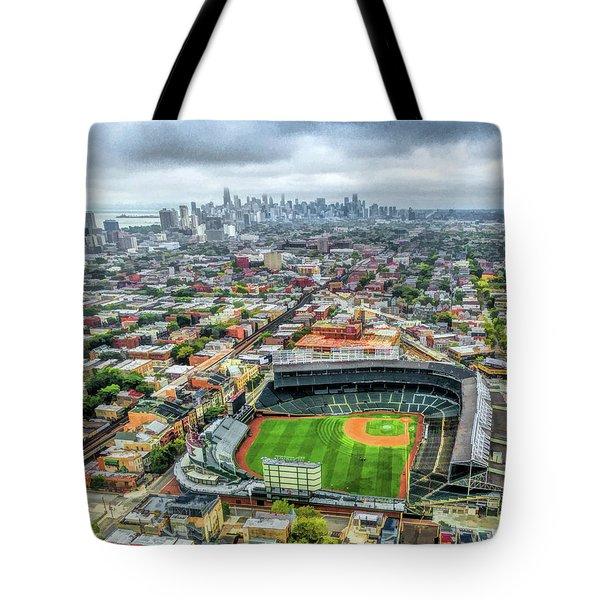 Wrigley Field Chicago Skyline Tote Bag