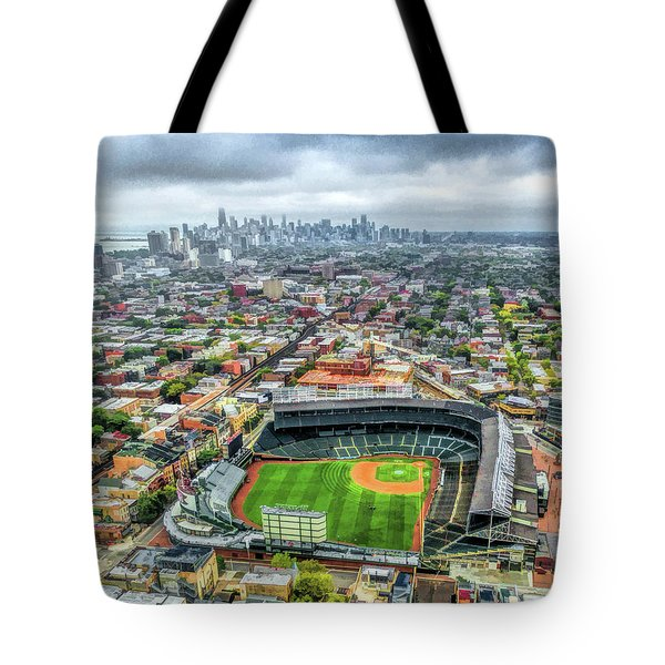 Wrigley Field Chicago Skyline Tote Bag