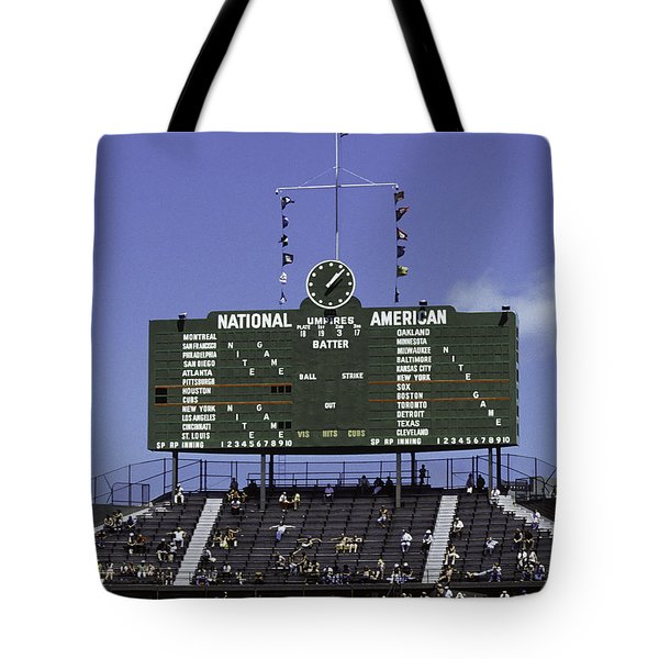 Wrigley Field Classic Scoreboard 1977 Tote Bag by Paul Plaine