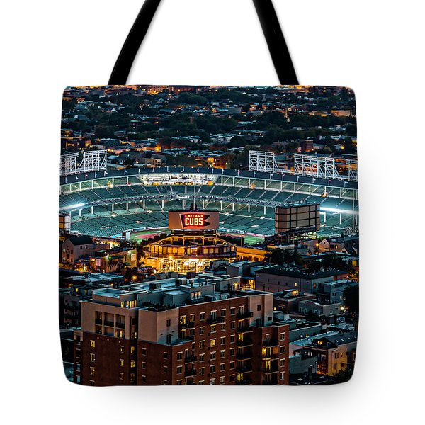 Wrigley Field From Park Place Towers Dsc4678 Tote Bag by Raymond Kunst