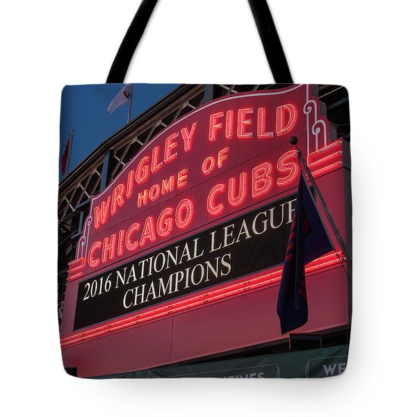 Wrigley Field Marquee Cubs National League Champs 2016 Tote Bag by Steve Gadomski