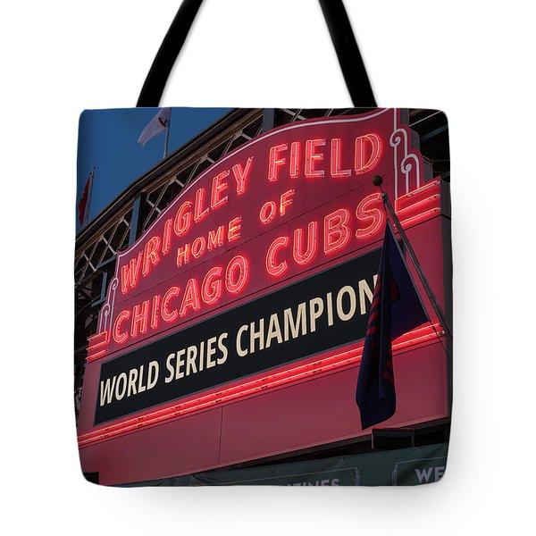 Wrigley Field World Series Marquee Tote Bag by Steve Gadomski