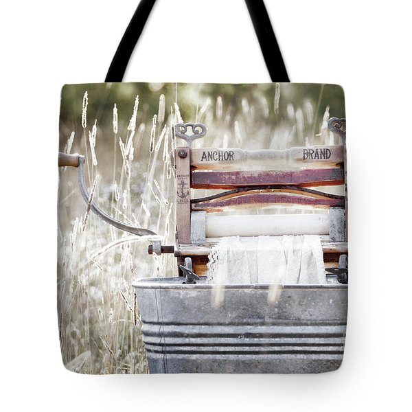 Wringer Washer - Retro Matte Tote Bag by Angie Rea