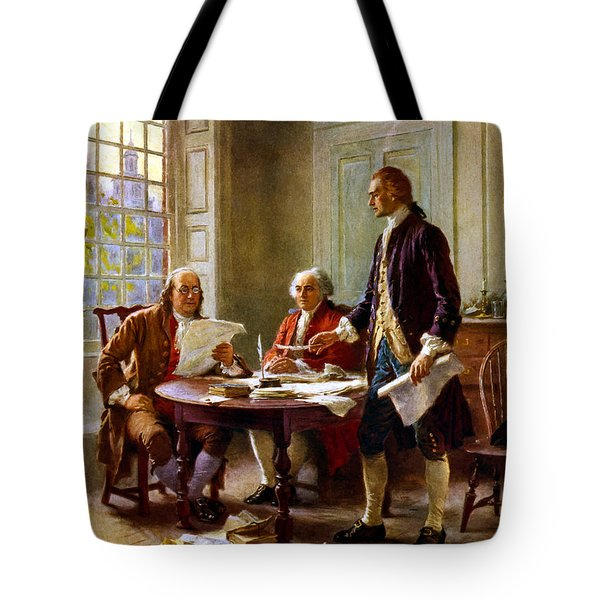 Writing The Declaration Of Independence Tote Bag by War Is Hell Store