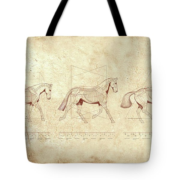 Dressage Horse Tote Bag Cotton Two-Toned