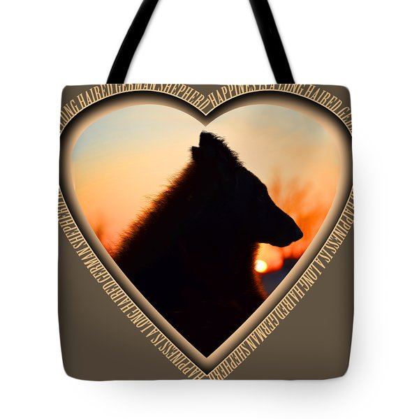 Wuffstar Happiness Is A Long Haired German Shepherd Heart Tote Bag