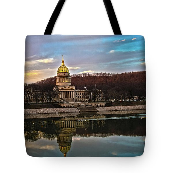 Wv State Capitol At Dusk Tote Bag