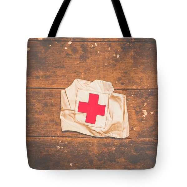 Ww2 Nurse Cap Lying On Wooden Floor Tote Bag