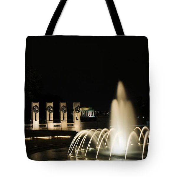 Tote Bag featuring the photograph Wwii Memorial Fountain by Angela DeFrias